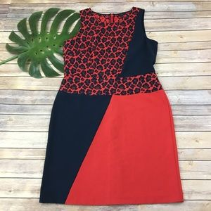 Ann Taylor red leopard print sheath dress